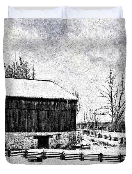 Winter Barn Impasto Version Duvet Cover by Steve Harrington