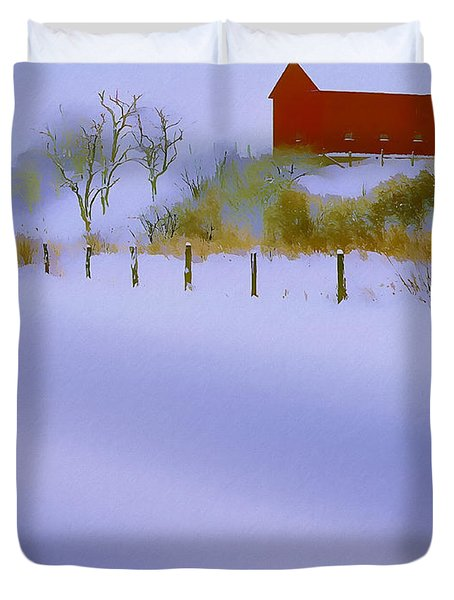 Winter Barn Duvet Cover by Ron Jones