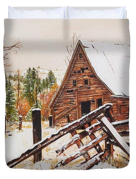 Winter - Barn - Snow In Nevada Duvet Cover