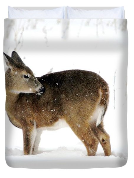 Duvet Cover featuring the photograph Winter Bath Time by Dacia Doroff