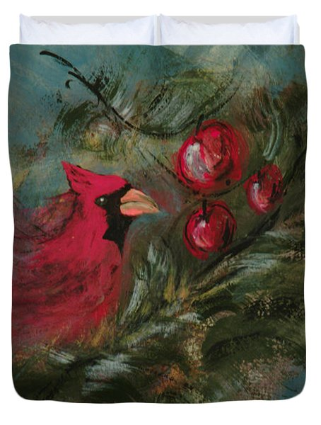 Winter Berries Duvet Cover by Lee Beuther