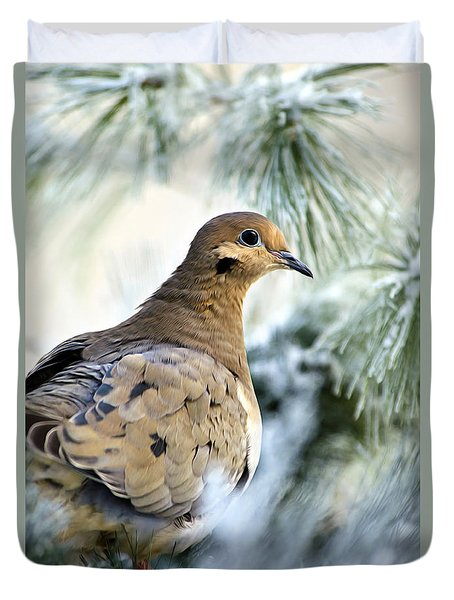 Winter Bird Mourning Dove Duvet Cover by Christina Rollo
