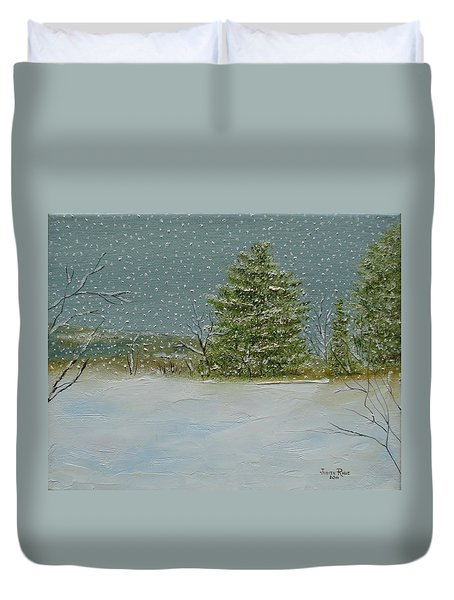 Duvet Cover featuring the painting Winter Blanket by Judith Rhue