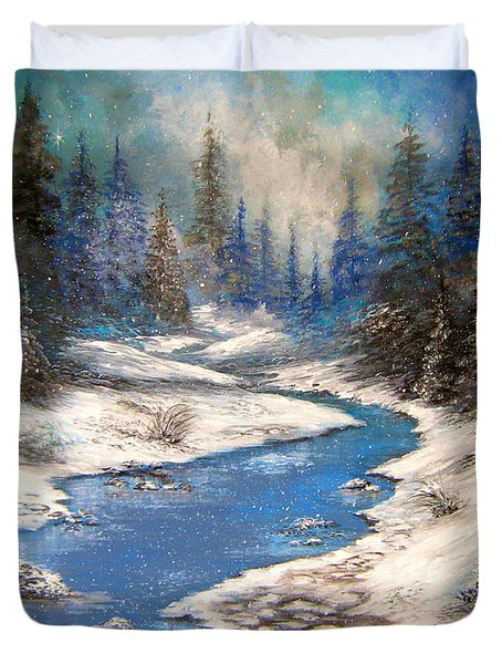 Duvet Cover featuring the painting One Little Blue by Patrice Torrillo