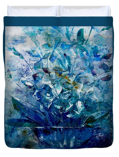 Duvet Cover featuring the painting Winter Bouquet by Lisa Kaiser