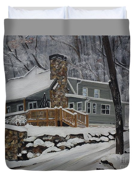 Duvet Cover featuring the painting Winter - Cabin - In The Woods by Jan Dappen