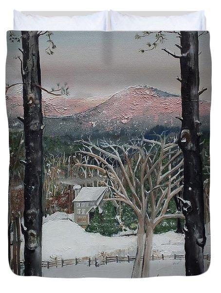 Winter - Cabin - Pink Knob Duvet Cover