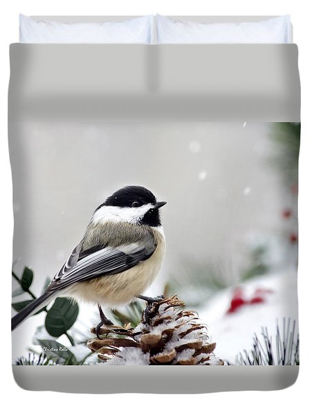 Duvet Cover featuring the photograph Winter Chickadee by Christina Rollo
