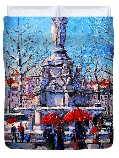 Winter City Scene - The Square  Marshal Lyautey In Lyon - France Duvet Cover