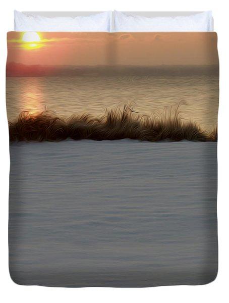 Duvet Cover featuring the digital art Winter Coast by Kelvin Booker