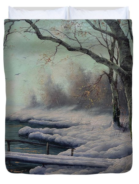Winter Coming On The Riverside Duvet Cover