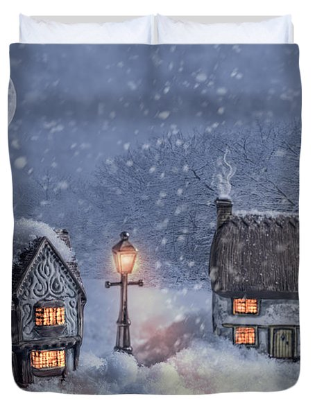 Winter Cottages In Snow Duvet Cover