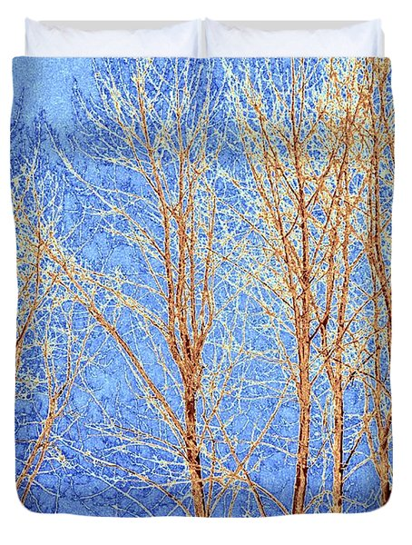 Winter Cottonwoods Abstract Duvet Cover by Will Borden