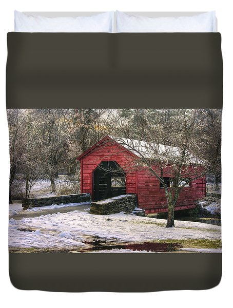 Winter Crossing In Elegance - Carroll Creek Covered Bridge - Baker Park Frederick Maryland Duvet Cover