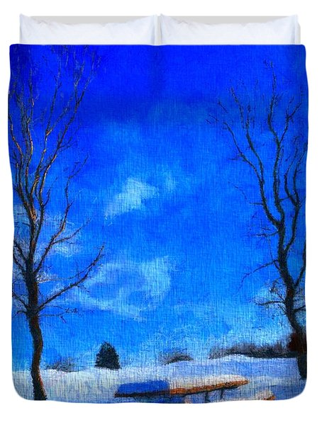 Winter Day On Canvas Duvet Cover by Dan Sproul