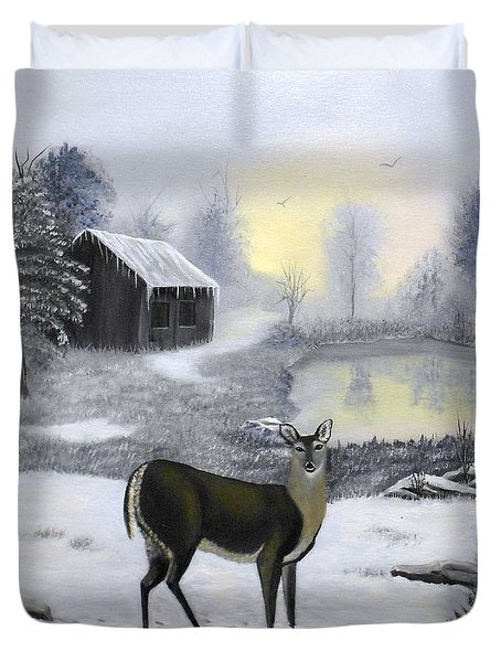 Winter Doe Duvet Cover by Sheri Keith