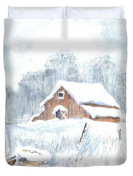 Winter Down On The Farm Duvet Cover by Carol Wisniewski