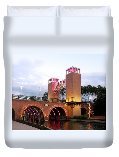Duvet Cover featuring the photograph Winter Evening Lights On The Woodlands Waterway by Connie Fox