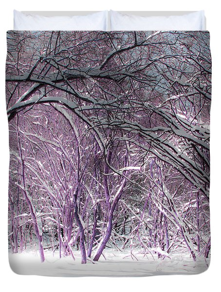 Winter Faeries Duvet Cover by Barbara McMahon