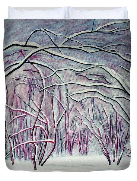 Winter Fairies Duvet Cover by Barbara McMahon