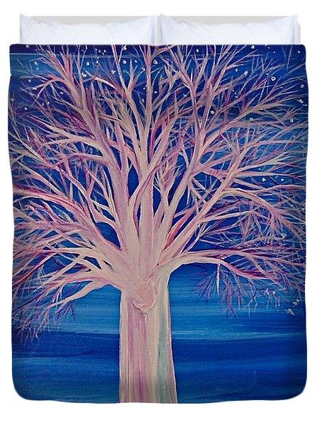 Winter Fantasy Tree Duvet Cover by First Star Art