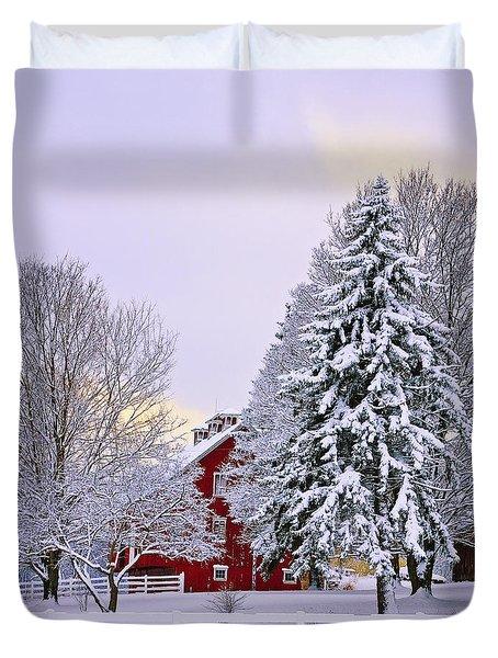 Winter Farm Scene Duvet Cover by Timothy Flanigan