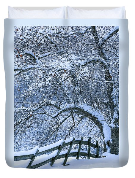 Duvet Cover featuring the photograph Winter Fence by Alan L Graham