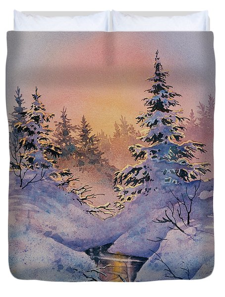 Duvet Cover featuring the painting Winter Filigree by Teresa Ascone
