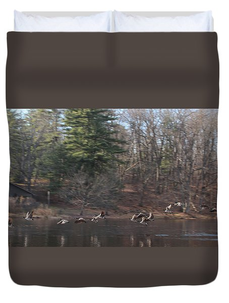 Duvet Cover featuring the photograph Winter Flight by Debra     Vatalaro