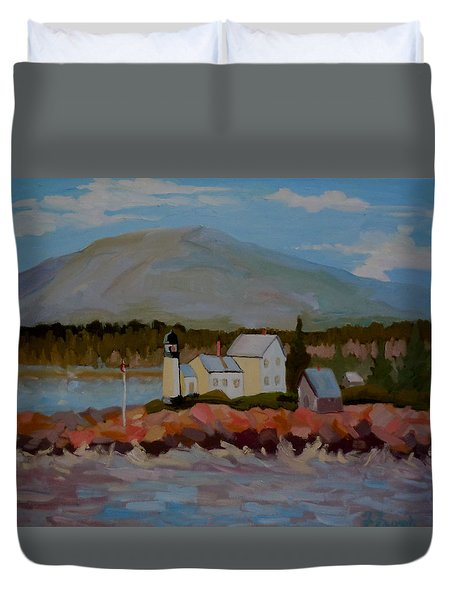 Duvet Cover featuring the painting Winter Harbor Light by Francine Frank