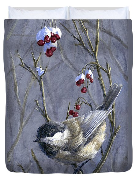 Winter Harvest 2 Chickadee Painting Duvet Cover