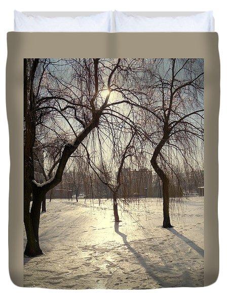 Willows In Winter Duvet Cover by Henryk Gorecki