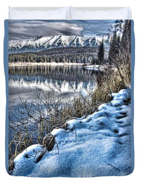 Duvet Cover featuring the photograph Winter Hits Rainy Lake by Janie Johnson