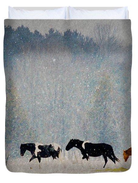 Winter Horses Duvet Cover