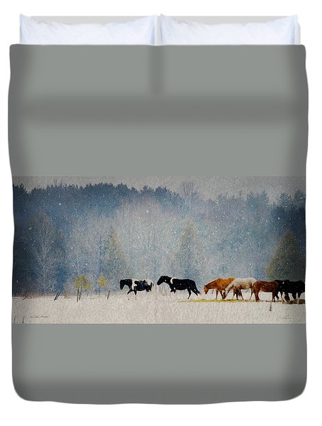 Winter Horses Duvet Cover by Ann Lauwers
