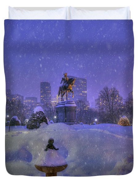 Winter In Boston - George Washington Monument - Boston Public Garden Duvet Cover