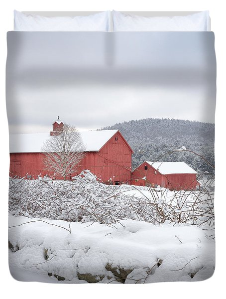 Winter In Connecticut Square Duvet Cover by Bill Wakeley