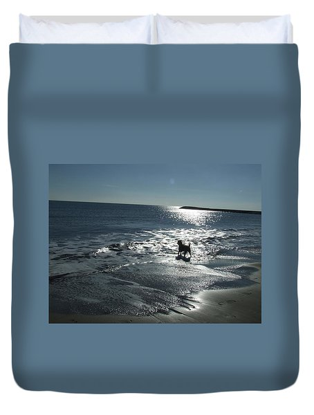 winter in Les Ste Marie de la mer Duvet Cover