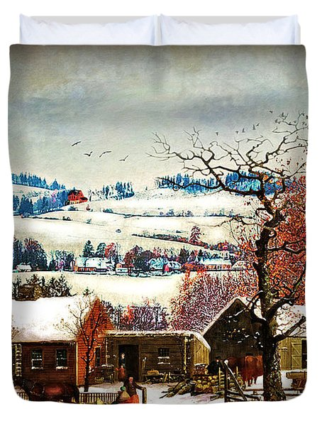 Winter In The Country Folk Art Duvet Cover