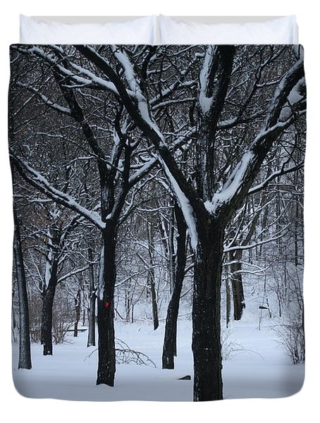 Duvet Cover featuring the photograph Winter In The Park by Dora Sofia Caputo Photographic Art and Design