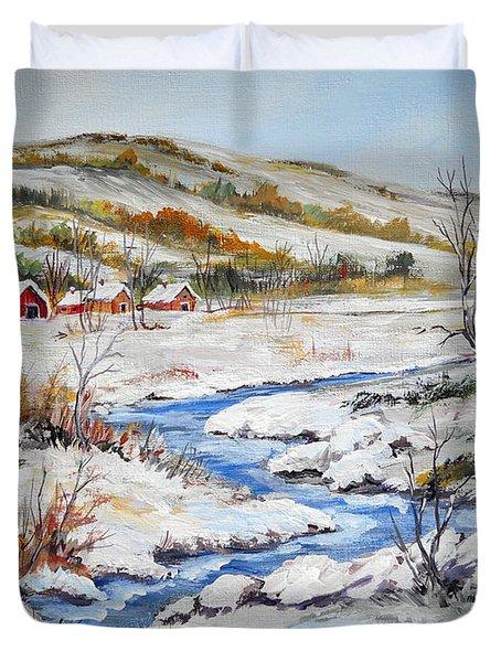 Winter In The Village Duvet Cover