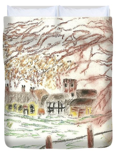 Winter In The Village Duvet Cover by Tracey Williams