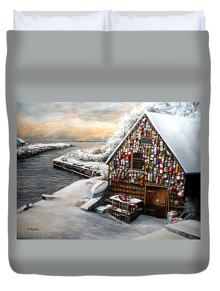 Winter Ipswich Bay Wooden Buoys  Duvet Cover by Eileen Patten Oliver