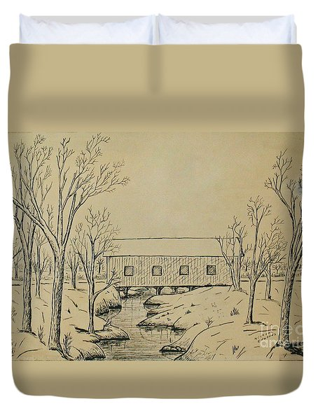 Winter Landscape In Ink Duvet Cover