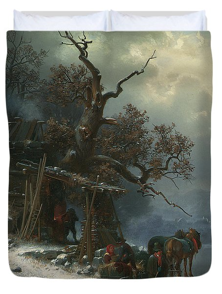Winter Landscape With Figures On A Frozen River Duvet Cover by Heinrich Hofer