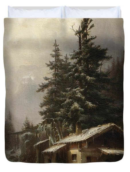 Winter Landscape With Figures Resting Near A Water Mill Duvet Cover by Heinrich Hofer