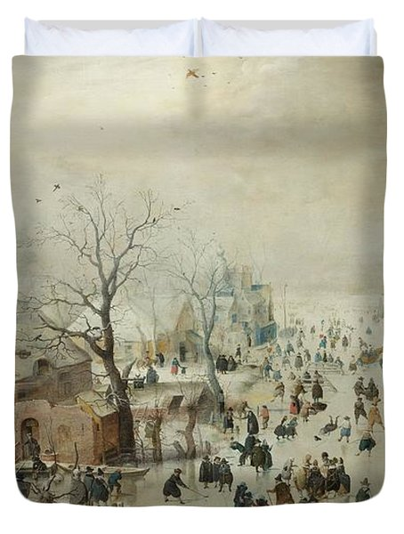 Winter Landscape With Skaters Duvet Cover