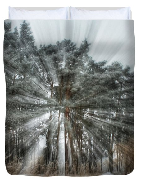 Winter Light In A Forest Duvet Cover