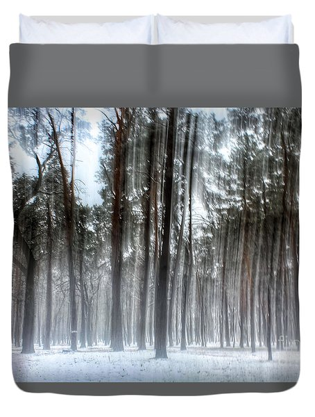 Winter Light In A Forest With Dancing Trees Duvet Cover