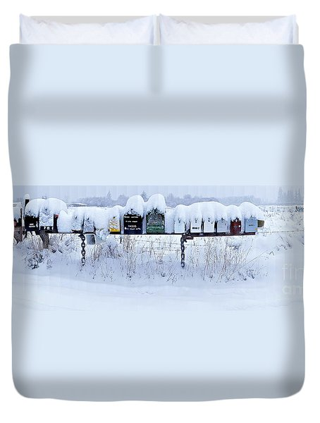 Winter Mailbox Panorama Duvet Cover by Sean Griffin